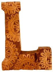 Hand Carved Wooden Flower Letter L