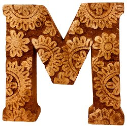 Hand Carved Wooden Flower Letter M