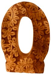Hand Carved Wooden Flower Letter O