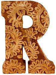 Hand Carved Wooden Flower Letter R