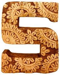Hand Carved Wooden Flower Letter S