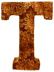Hand Carved Wooden Flower Letter T
