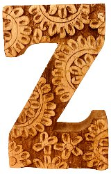 Hand Carved Wooden Flower Letter Z