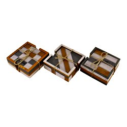 Set of 4 Square, Resin Coasters, Abstract Design