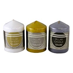 Set of 3 Multi Coloured & Fragranced Abstract Pillar Candles, Small