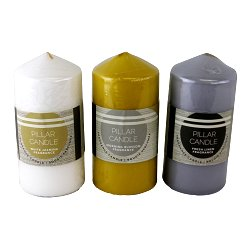 Set of 3 Multi Coloured & Fragranced Abstract Pillar Candles, Large
