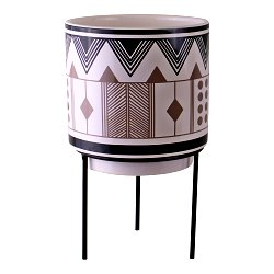 Aztec Inspired Design Ceramic Planter With Stand, Small