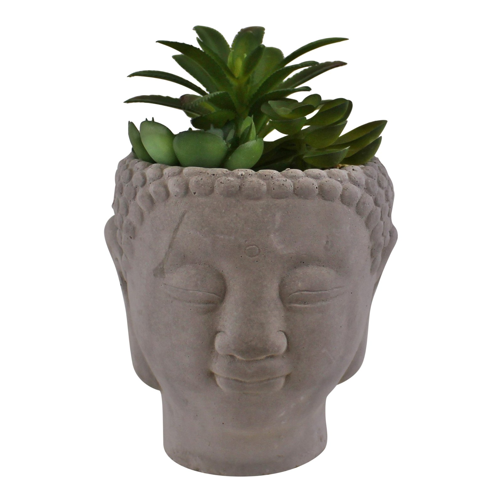 Trio of Faux Succulents in Buddha Head Cement Pot