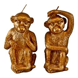 Set of 2 Gold Monkey Candles
