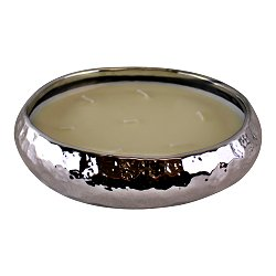 Silver Ceramic Bowl With 7 Wick Sandalwood Fragranced Candle