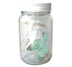 Butterfly Led Light Chain In Glass Jam Jar - Blue