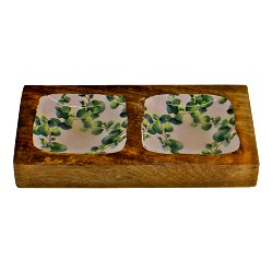 Wood & Enamel 2 Portion Snack Serving Tray