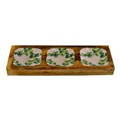 Wood & Enamel 3 Portion Snack Serving Tray