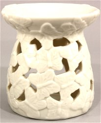 White Embossed Butterfly Oil Burner
