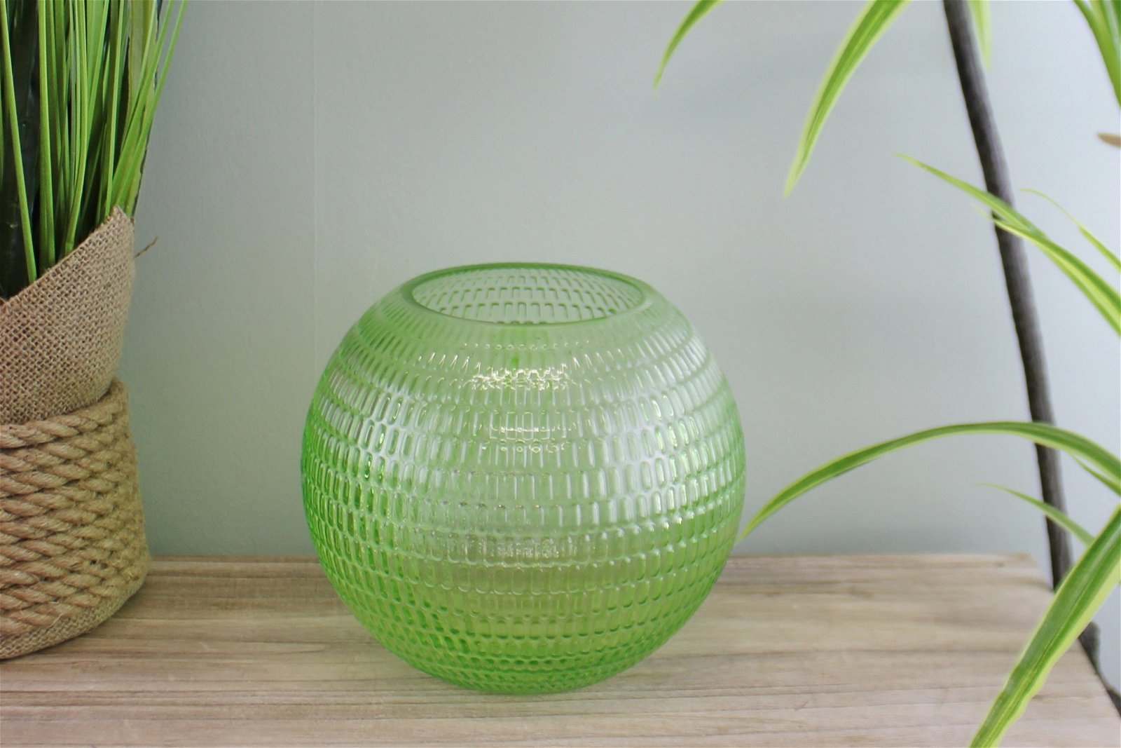 Embossed Glass Bowl Vase, Light Green, 15cm