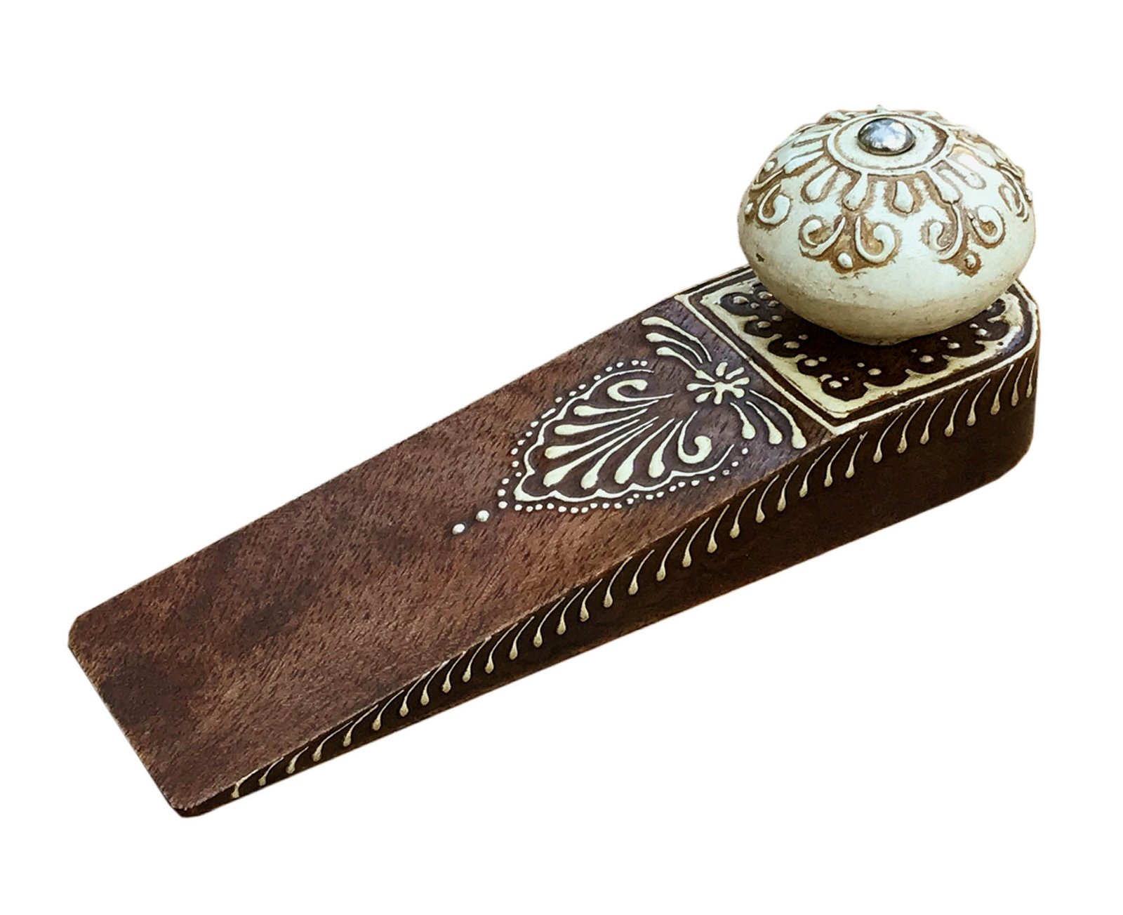 Brown Doorstop With Wooden Knob