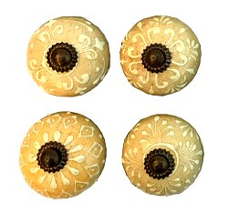 Set Of Four Pastel Tan Coloured Door Knobs
