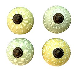 Set Of Four Pastel Green/ Blue Coloured Door Knobs