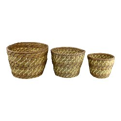 Set Of 3 Woven Grass Planters