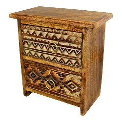 Kasbah 2 Drawer Cabinet Style Trinket Unit 21x20cm