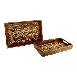 Set of 2 Hand Carved Kasbah Wooden Trays