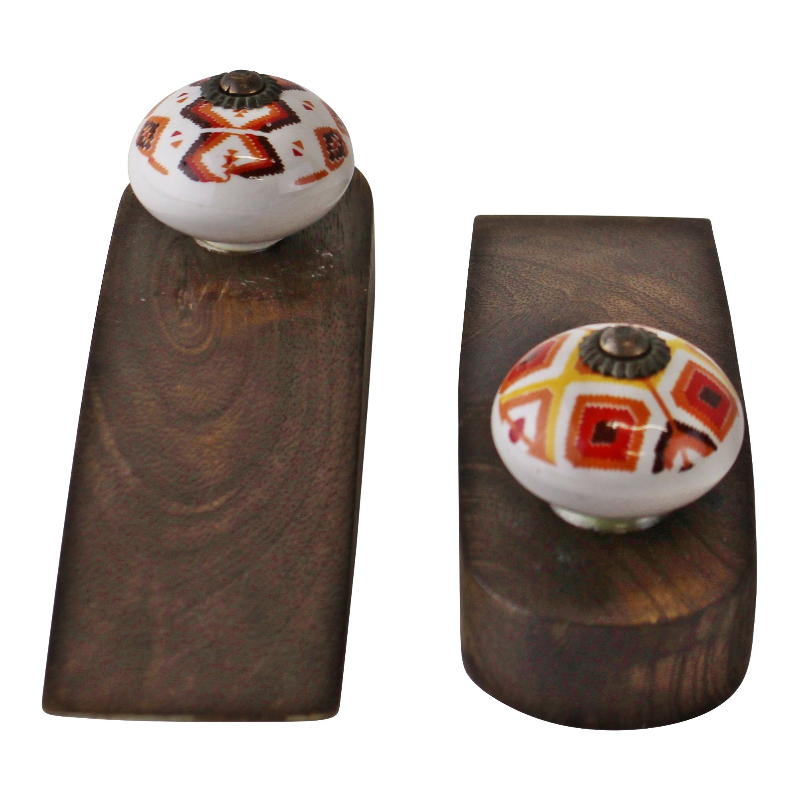 Set Of 2 Kasbah Design Wooden Doorstops
