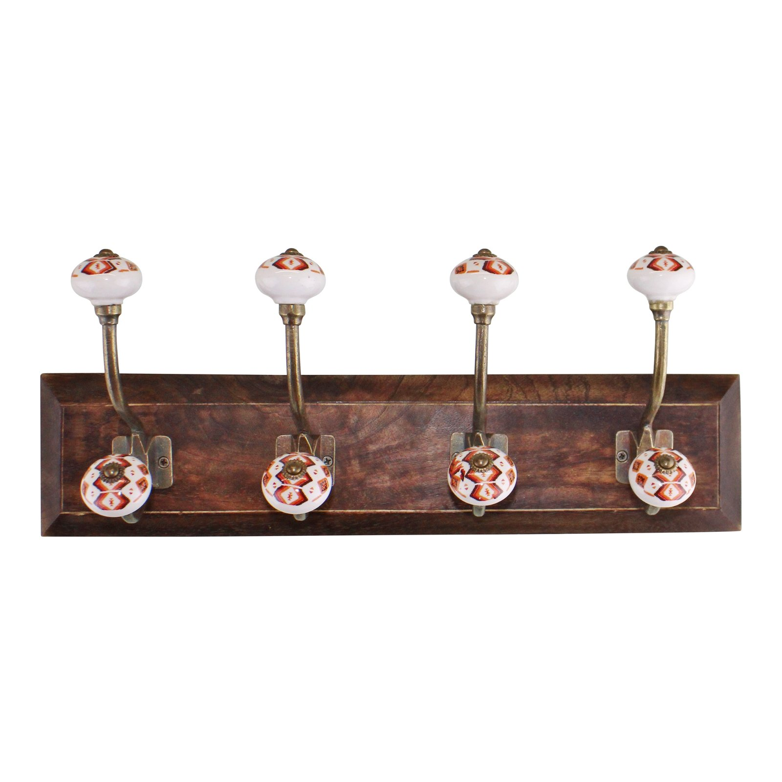 4 Double Coat Hooks, Kasbah Design on Wooden Base