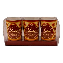Set of 3 Kasbah Votive Candles in Jars, Sandalwood Fragrance