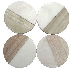 Set of 4 Wood Effect Marble Coasters - Round
