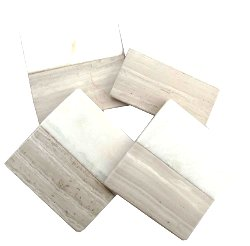 Set of 4 Wood Effect Marble Coasters - Square
