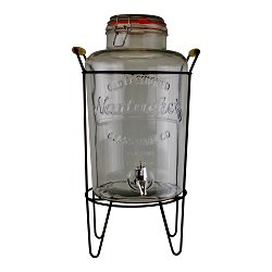Vintage Style Glass Juice Dispenser on Metal Stand
