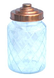 Round Glass Jar With Copper Lid - 7 Inch