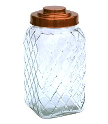 Copper Lidded Square Glass Jar - 12 Inch Large