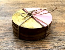 Set Of 4 Round Two Toned Wooden Coasters - Pink