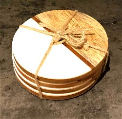 Set Of 4 Round Two Toned Wooden Coasters - White