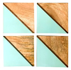 Set Of 4 Square Two Toned Wooden Coasters - Green
