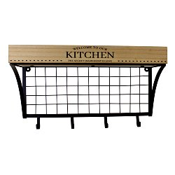 Wall Hanging Kitchen Shelf With Hooks
