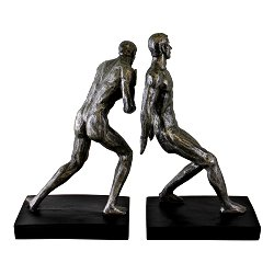 Silver Male Statue Bookends