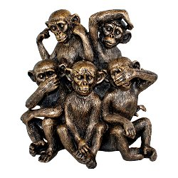 Five Monkeys Ornament