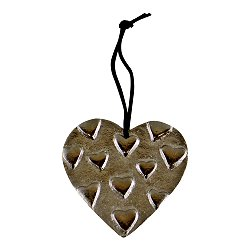 Hanging Silver Metal Heart Ornament, 10cm