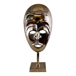 Silver Metal Tribal Mask Sculpture