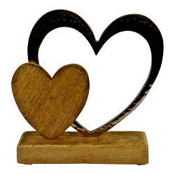 Large Double Heart On Wooden Base Ornament