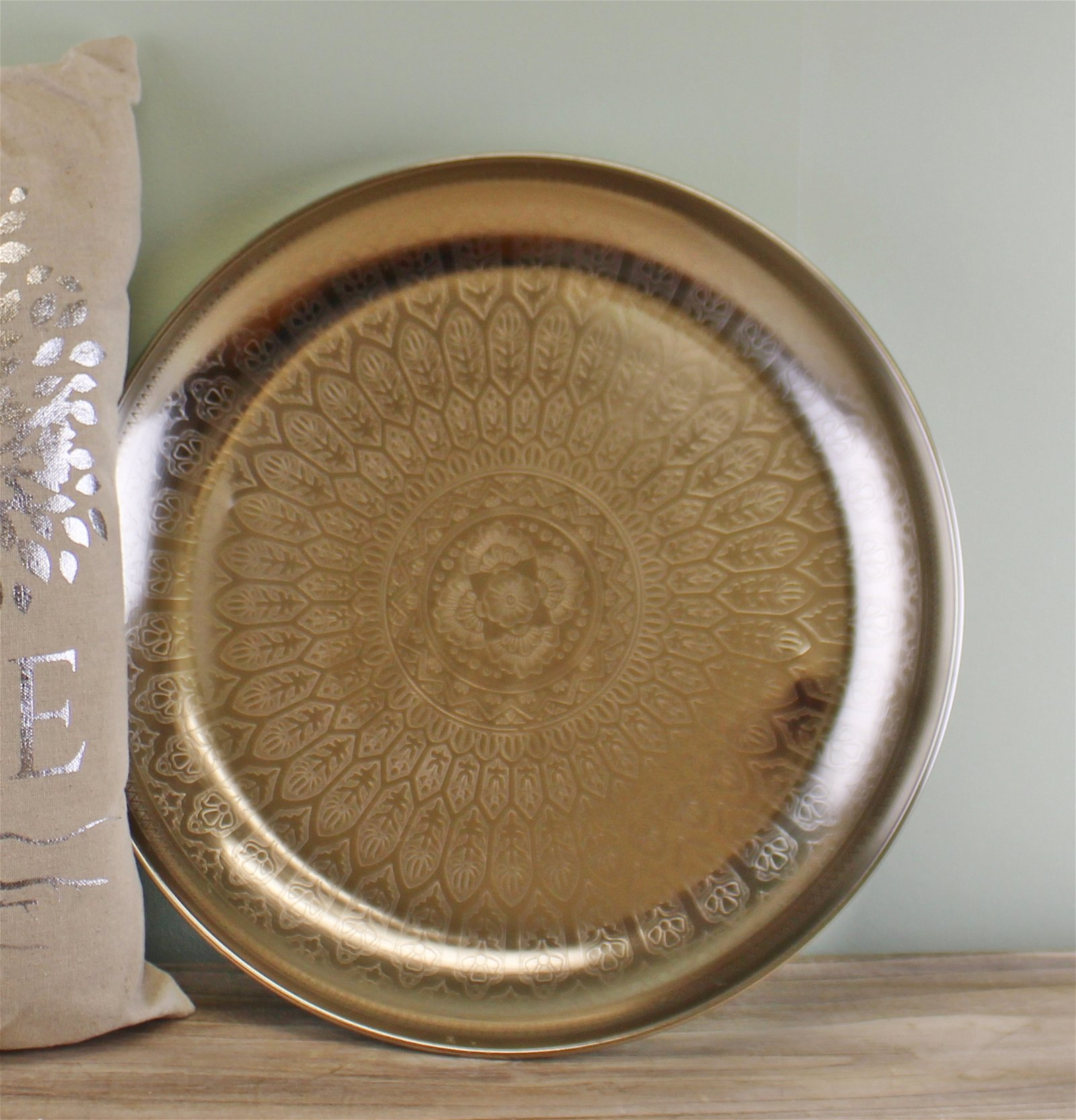 Decorative Silver Metal Tray With Etched Design