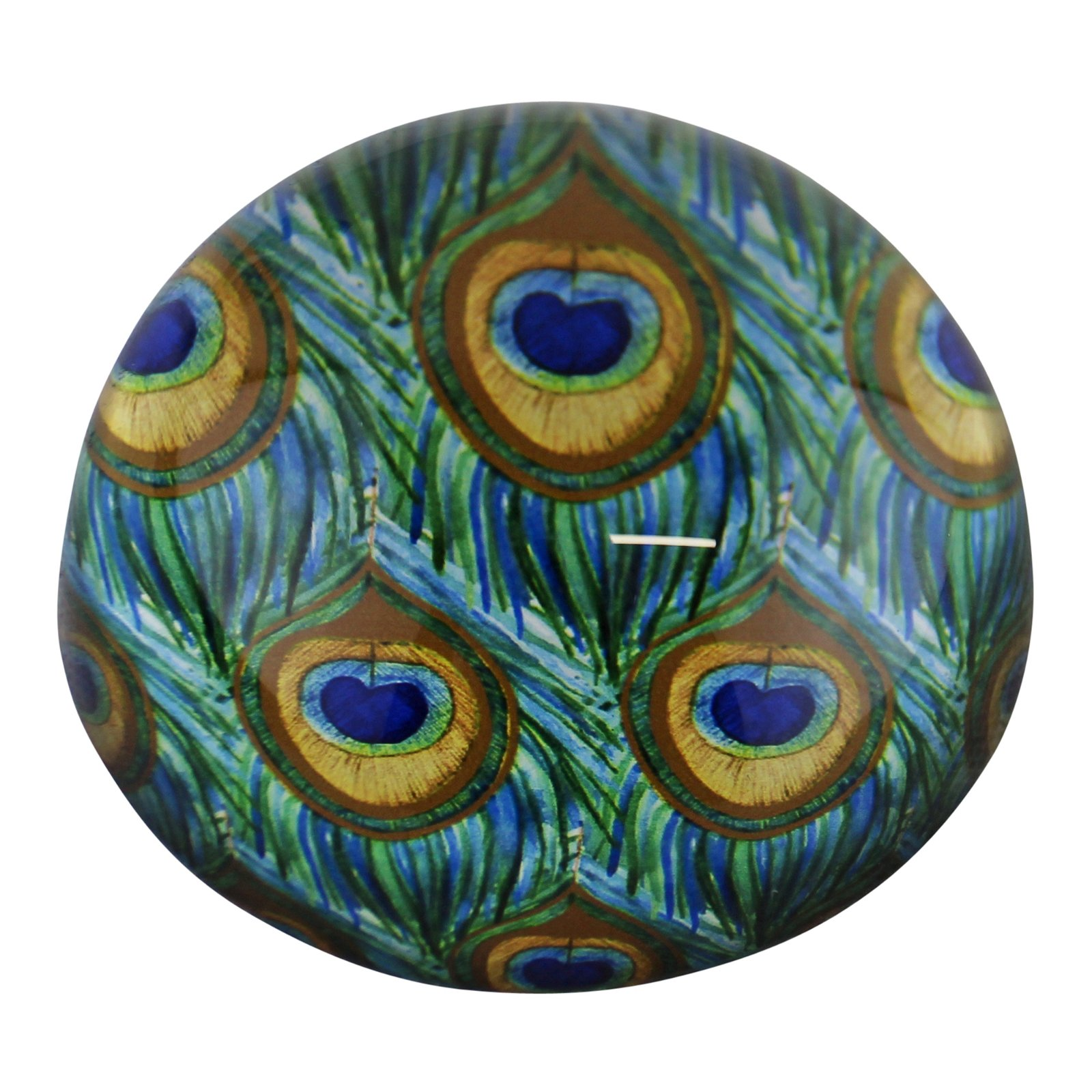 Glass Peacock Design Paperweight