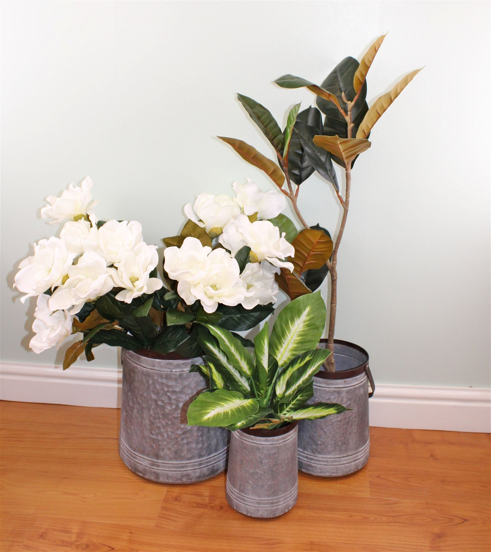 Set of 3 Bucket Style Metal Planters
