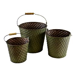 Set Of 3 Bucket Style Zinc Planters In Green
