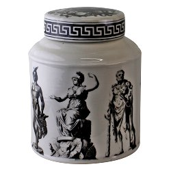 Large Round Grecian Style Porcelain Jar, Grecian Pottery