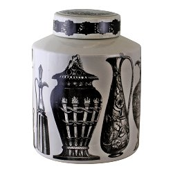 Small Round Grecian Style Porcelain Jar, Grecian Figures