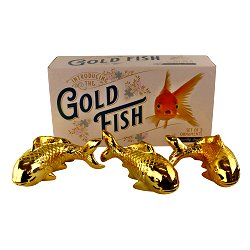 Ceramic Wall Hanging Trio of Goldfish in Gold Finish