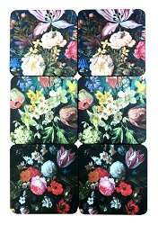 Pack Of Six Dutch Floral Coasters In Gift Box